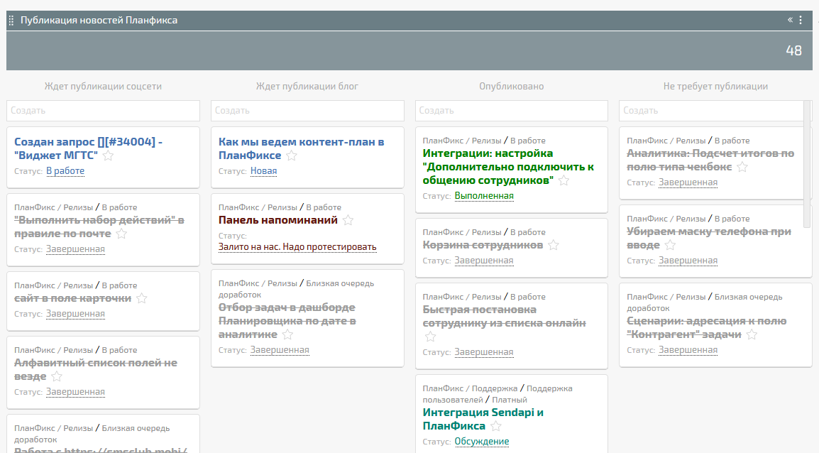Пример контент-плана в ПланФиксе