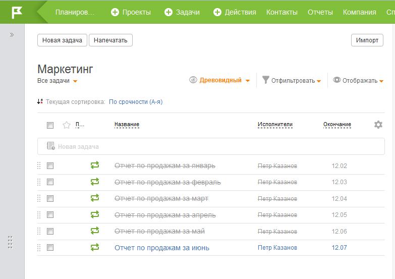 ПлоанФикс: отчеты по месяцам, автоматически сформированные названия повторяющихся задач