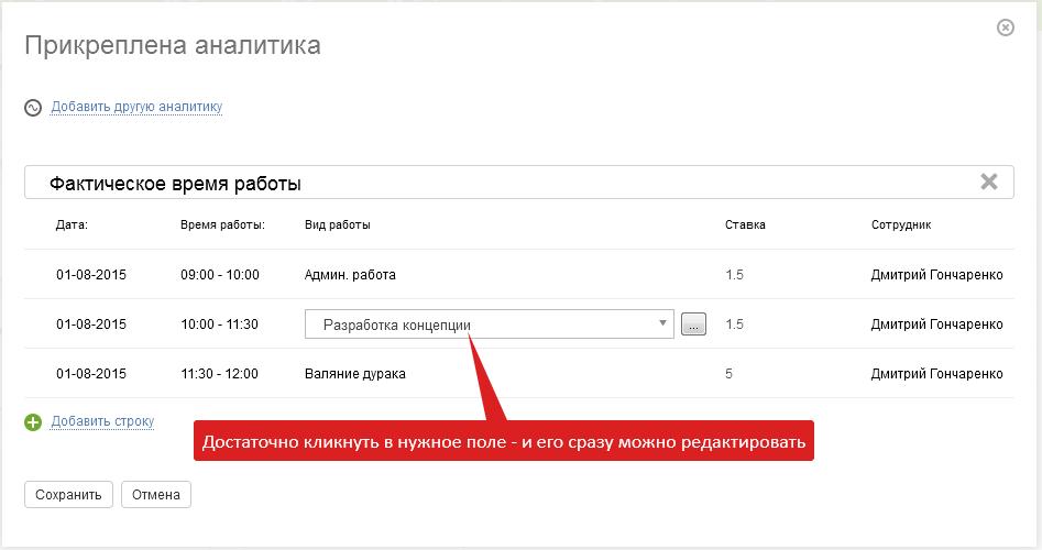 Быстрое редактирование аналитики в ПланФиксе
