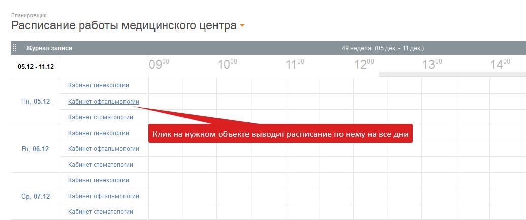 Клик на объект в расписании оставляет на экране расписание по этому объекту на весь выбранный диапазон дат