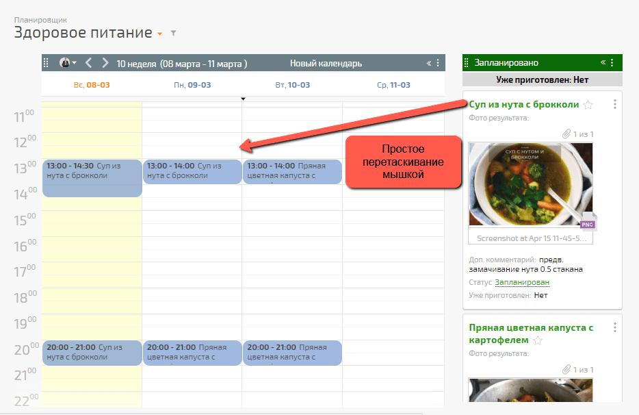 Почасовое планирование готовки и поедания пищи
