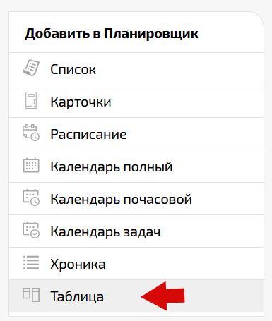 """Добавление списка типа """"Таблица"""" в Планировщик ПланФикса"""