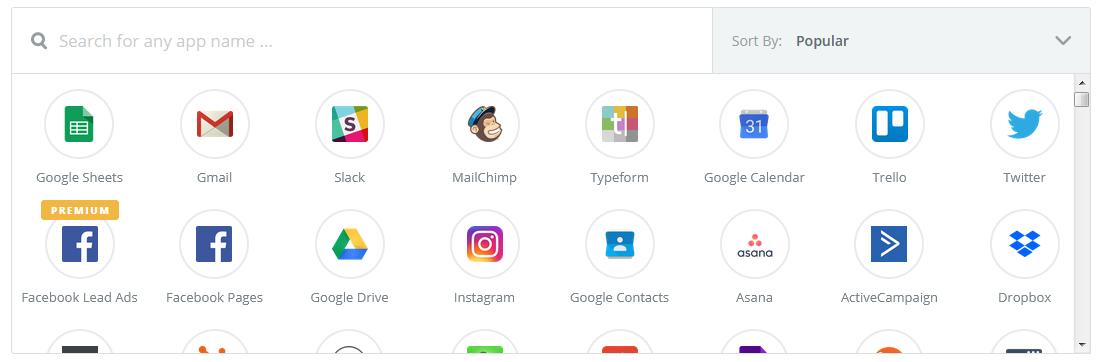 Список сервисов, интегрированных с Zapier
