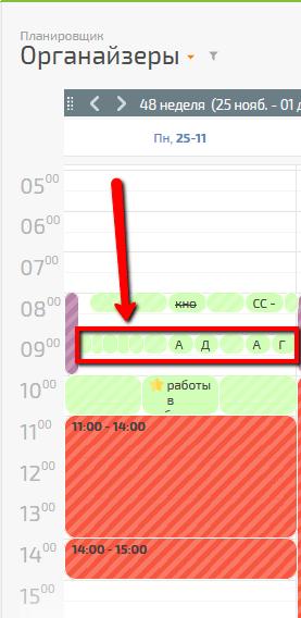 Много целевых действий запланированы на одно время и выводятся в одной строке календаря