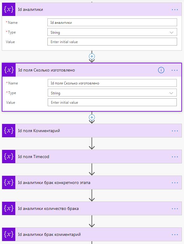 Инициализация переменных в Microsoft Flow для импорта данных в ПланФикс
