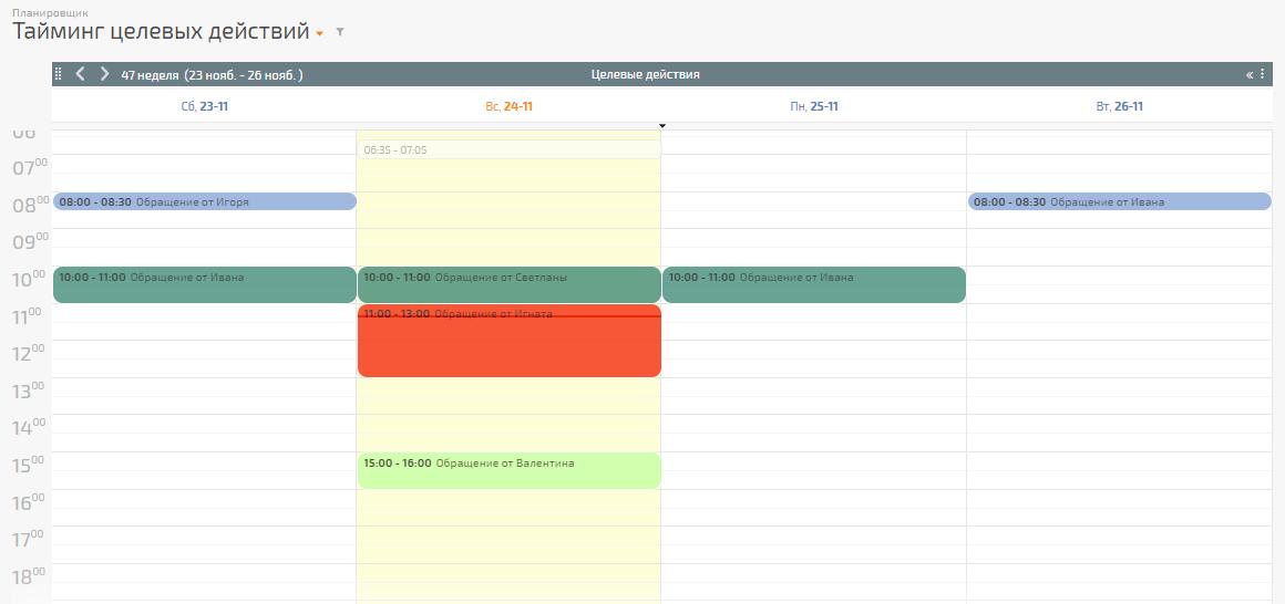 Целевые действия по сделке отображаются в календаре разными цветами
