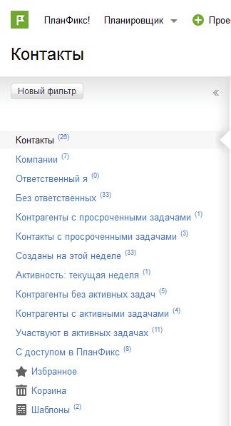 Стандартные фильтры Контактов в ПланФиксе