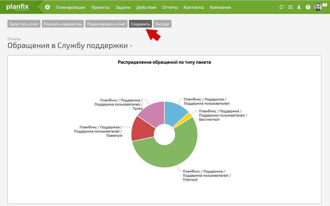 Сохранение готового отчета в ПланФиксе