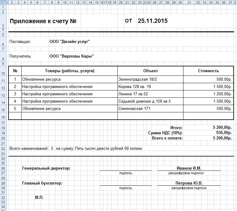 Приложение к счету, полученное из ответа по выполненным за месяц задачам для клиента - ПланФикс